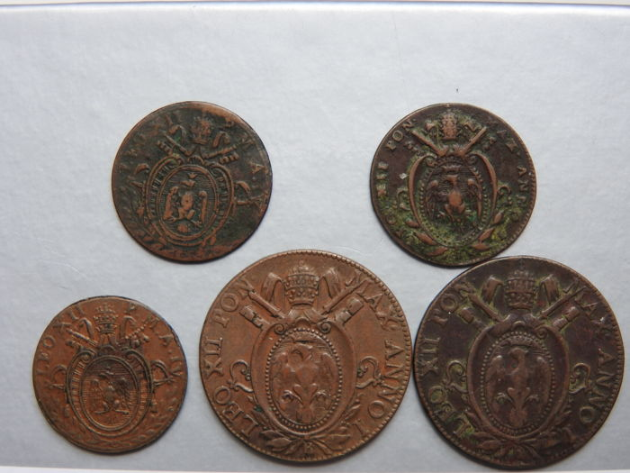 Papal States – 1 Mezzo 1824 (2 pieces) + 1 Quatrino 1826 (2 pieces) and 1824 (total of 5 coins)