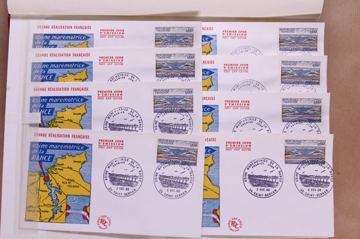 France 1962/1980 - Batch of 1000  FDCs in bundles, in box