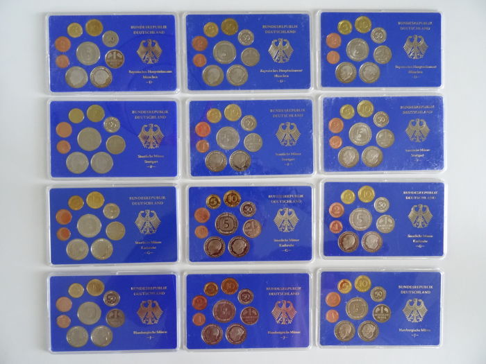 Germany - Proof-Coin-Sets 1975 & 1976 & 1977, D, F, G, J (12 sets)