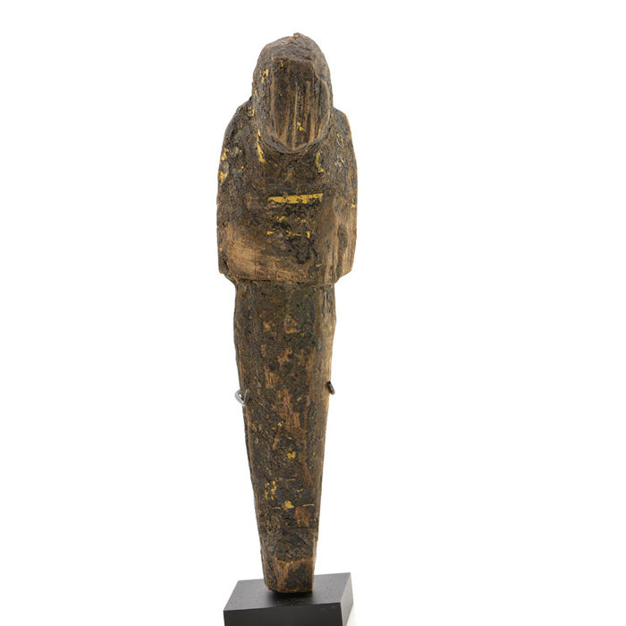 A large Egyptian Wood and Resin Shabti - 19 cm