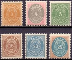 Iceland - 1976-1901 - 6 Small Oval stamps, perforation 12¾, Mint Never Hinged
