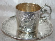 Sterling silver cup and saucer, Master Silversmith Gustave Veyrat, Paris, 1894