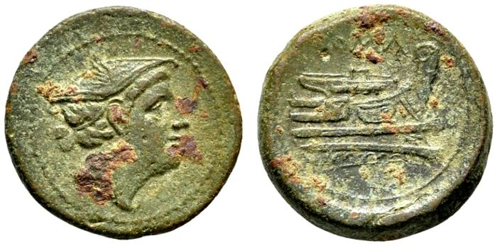 Roman Republic - 217-215 BC. Anonymous bronze semuncia (6,18 g, 20mm). Head of Mercury wearing petasus / Prow of ship.
