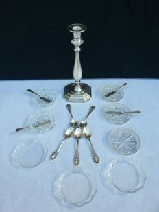 Lot of 18 pieces in Bohemian cut crystal and 800 silver - Czech Republic, Italy, Germany - 1840 / 1900 ca