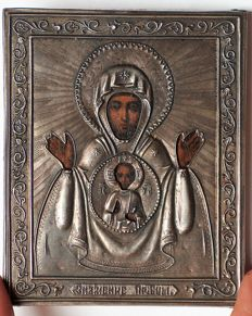 Miniature Russian  Orthodox Icon in Silver Frame  - Sign of the Blessed Virgin Mary  - 84 silver fineness (Russian empire before 1917)
