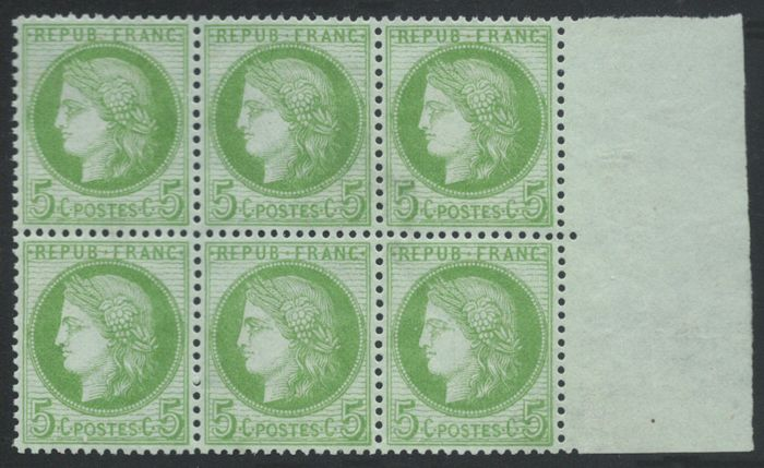 France 1872 - Ceres 5c green-yellow - Yvert no. 53 block of 6 with page edge