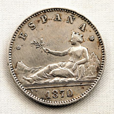 Spain – Provisional Government – 1 peseta, silver – Year 1870 * 18-73 - Madrid.
