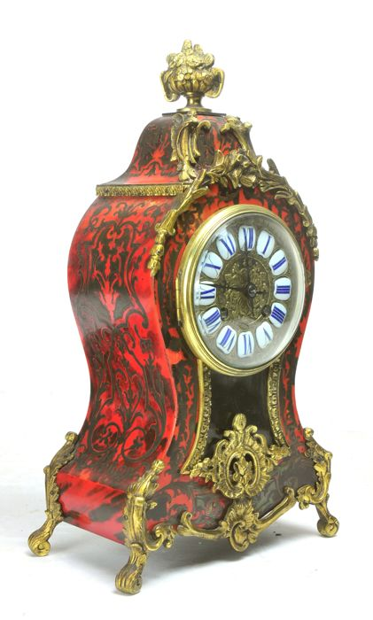 Boulle mantel clock – made by Charles Hour - France, 19th c. 2nd half – H34 cm, ormolu bronze mounts, pendule, cartel, Boulleuhr, Kaminuhr