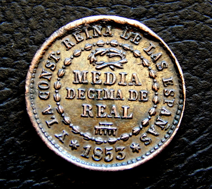 Spain - Isabel II - 1/2 10th of Real 1853 Segovia mint.