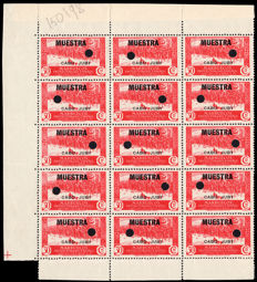 Spain Cape Juby 1935/1936 - fitted stamps, 30cm, block of 15 - Edifil no. 80MT.
