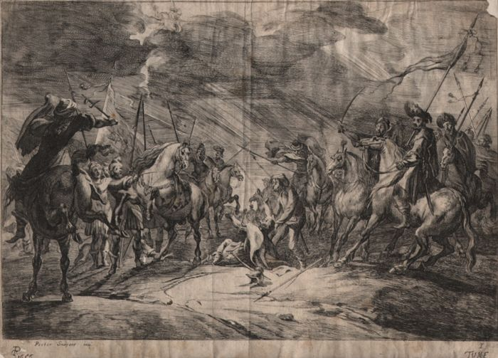 Peter Snayers (1592 --1667 ) - Cavalry Engagements: Conversion of Saulus -  Etched by Theodor van Kessel (1620 – 1696) ) - Dated 1656