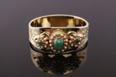 Vintage women's bracelet, 14 kt yellow gold with freshwater pearls - emerald - engraving by hand