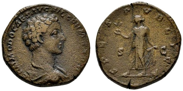 Roman Empire - Commodus. As Caesar, A.D. 166-177, bronce as (12,20 g., 27mm ). Rome mint, A.D. 175-6. SPES PVBLICA.