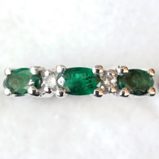 Natural 0.68cts Brazilian Santa Terezinha Emerald & White Topaz half eternity ring. Deep Greens, East to West setting.