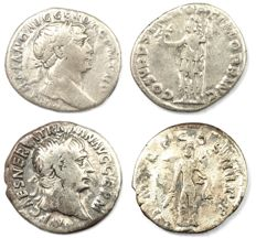 Roman Empire - Two AR denarius  - Trajan  - Roma  (18 mm 2,95g) & Hercules (18 mm 2,67g)