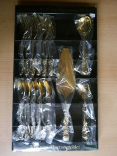 Coffee table set, hard gold-plated, 15-pieces, original packaging