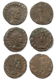 Roman Empire - Three AE antoninianus - Claudius II Gothicus - Salus Aug (19mm, 2,62 g)  & Virtus Aug (19mm 3,91g) & Spes Aug (19mm, 3,31 g)