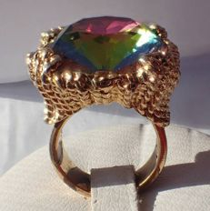 """Signed NAPIER - Eugene Bertolli - Highly collectible and Rare coctail Ring - """"Hope Diamond collection"""" 1965"""