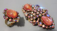 Signed HOLLYCRAFT - Demi Parure - RARE Brooch & Cocktail Ring - CORP. 1959