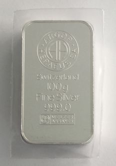 Argor Heraeus 100 g silver bullion, new and sealed