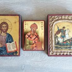 3 Byzantine icons - Greece - Late 20th century