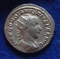 Roman Empire – silver Antoninianus of Godrian III, the child emperor (238–244 A.D.) struck in Rome, reverse side Emperor with spear! (P624)