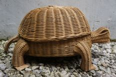 Very large decorative wicker turtle with storage space