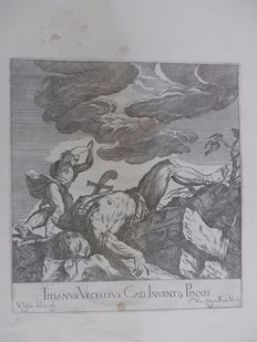 Valentin Lefevre (1642 - 1680) - David and Goliath from a work by Titian - publisher Johannes van Campen - 1682