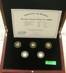 Europe - Smallest Gold Euro set 2008 with 5 gold coins, in a case with certificate