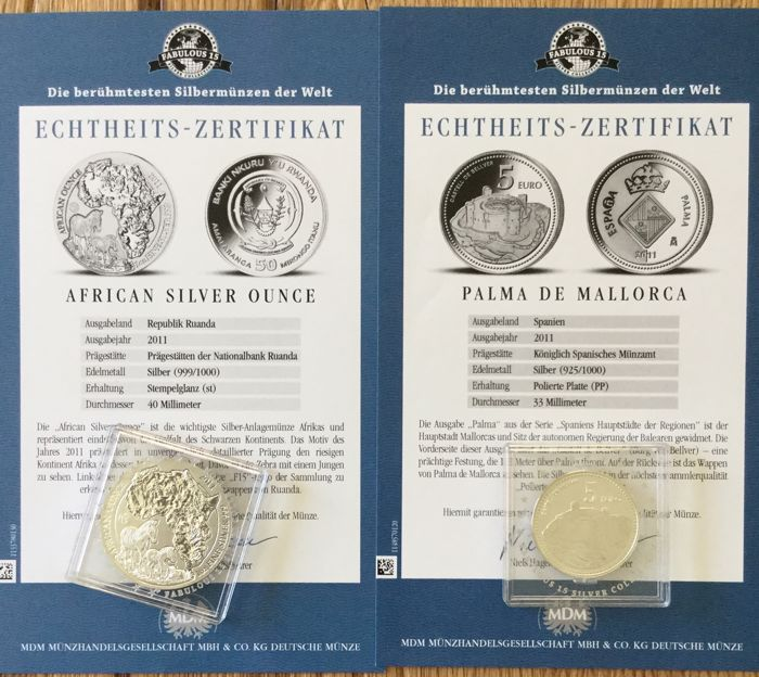 World – the 15 world famous silver coins 'Fabulous 15' 2011 – 15 x 1oz  silver - Catawiki