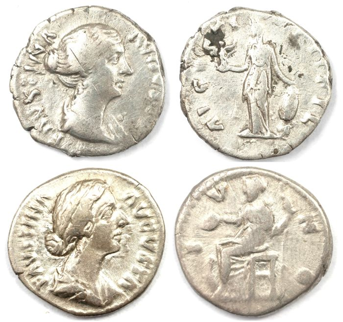 Roman Empire - Two AR denarius  - Faustina Junior  - Juno (18 mm 3,25 g) & Venus Victrix (16 mm 2,89g)