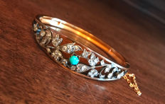 Biedermeier bracelet/bangle with diamonds and turquoise made of 750 / 18 kt gold and 925 silver, antique, circa 1860-1880