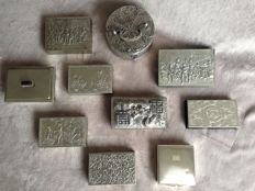 Nice collection of 10 silver-coloured and silver-plated cases