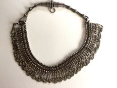 Hairpiece transformed into a short articulated solid silver necklace - SYRIA - 1st part of the 20th century