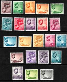 Seychelles 1938 - set to both 1 Rupees, Stanley Gibbons 135a/146a