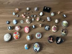 Massive Vintage collection of cameo, hand painted plaques French Limoqes, signed brooches and jewels