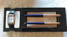 Set of Parker pens 45 L.I blue - gold trim + woman's watch in black stainless steel with the original case