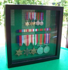 WW2 British 5 x Medal Set + 5 x Miniatures, Mounted & Framed, With Ribbon Bar