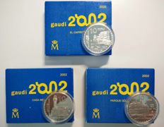 Spain - 3 x 10 Euros - 2002 complete series - International Gaudi year - FNMT (3 coins).
