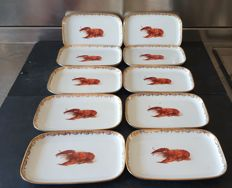 Langental suisse - 10 ceramic plates decorated with gold thread