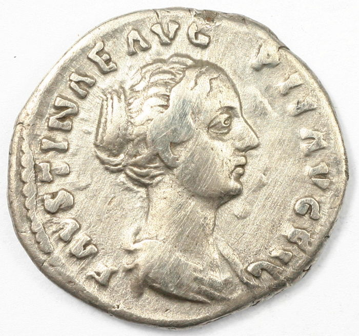Roman Empire - AR denarius  - Faustina Junior - Pudicitia - 18 mm 2,98 gr