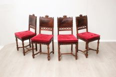 Set of four Henri deux chairs, ca. 1940