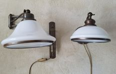 Beautiful bronze-coloured vintage reading lamps with opaline shades.