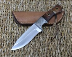 Original 440 stainless Damascus steel knife with Leather Sheath - new