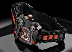 Zeitlos T1 Carbon Black Orange Steel Strap ZL-T1