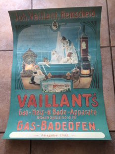 "4 international advertising posters for the famous ""Vaillant"" factory - 2014, Milan and 2 advertising signs Burgers and Hotdogs on canvas with frame"