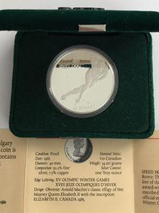 Canada - 20 Dollars 1985 'Calgary 1988 Olympic Winter Games – Speed Skating' – 1 oz silver