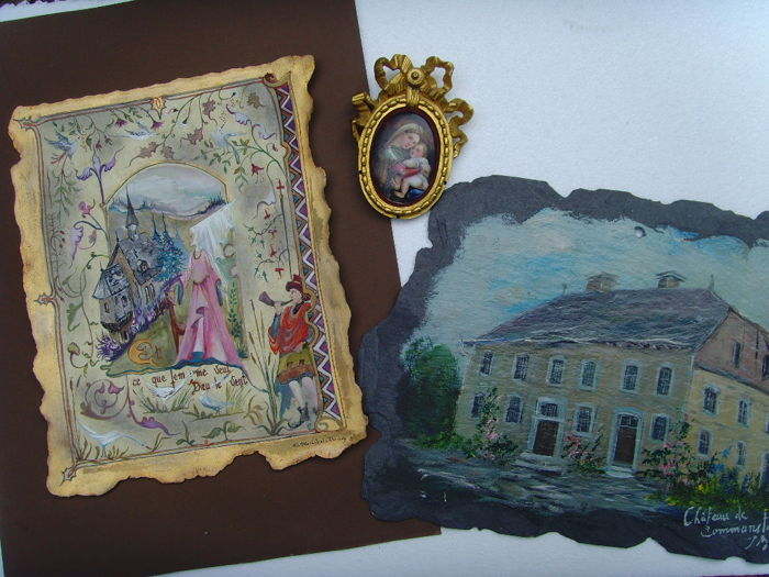 Collection of three paintings ( Ink/Paper - Oil/Shale - Miniatur/Plaque)