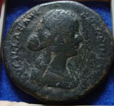 Roman Empire - SESTERTIUS of Lucilla wife of Lucius Verus (164 - 182 A.D.) and Axle of Crispina wife of Commodus (180 - 183 A. D.) (P621)
