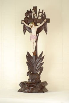 Black Forest wood lamb altar crucifix with bisque Christus and tools of passion pedestal - Switzerland,Brienz  1880-1900.